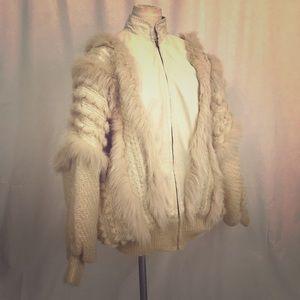Retro 90's Fur Sweater coat! VINTAGE‼️